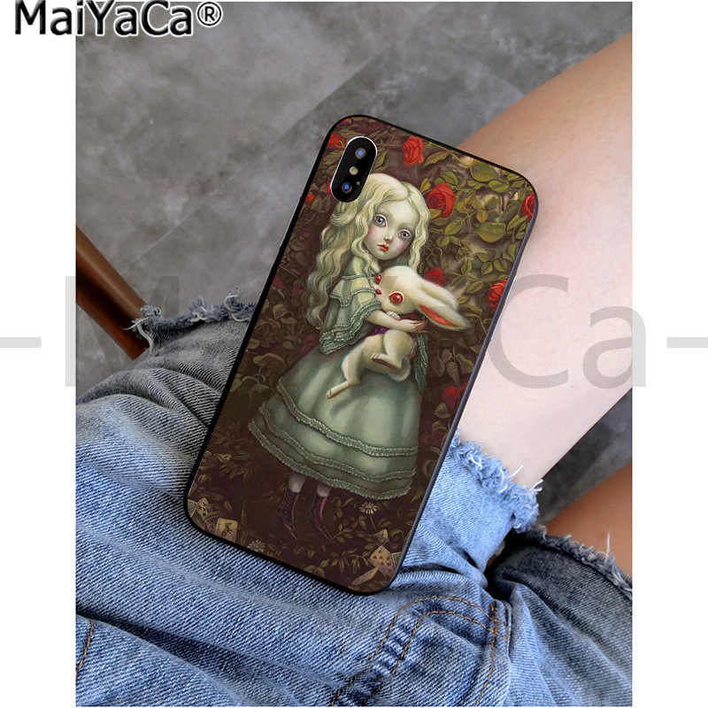 MaiYaCa アリス · イン · ワンダーランド猫 TPU 黒電話ケースカバーシェルのための iphone 11 プロ X XS 最大 66S 7 7 プラス 8 8 プラス 5S XR