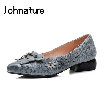 Johnature 2020 New Spring/summer Fashion Comfortable Pointed Toe Breathable Sweet Appliques Sweet Low Heel Lady Shoes Pumps