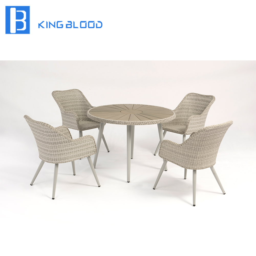 patio wicker chair furniture white PE rattan outdoor dining table and chair