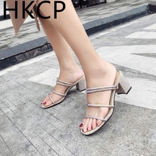 HKCP The new summer high heel outside wear 2019 slippers diamond-encrusted fashion Korean version of two sandals C177