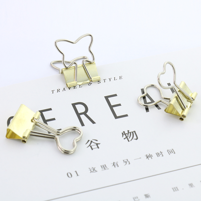 TUTU 6pcs/lot Solid Color Gold Metal Binder Clips Notes Letter Paper Clip Office Supplies H0124