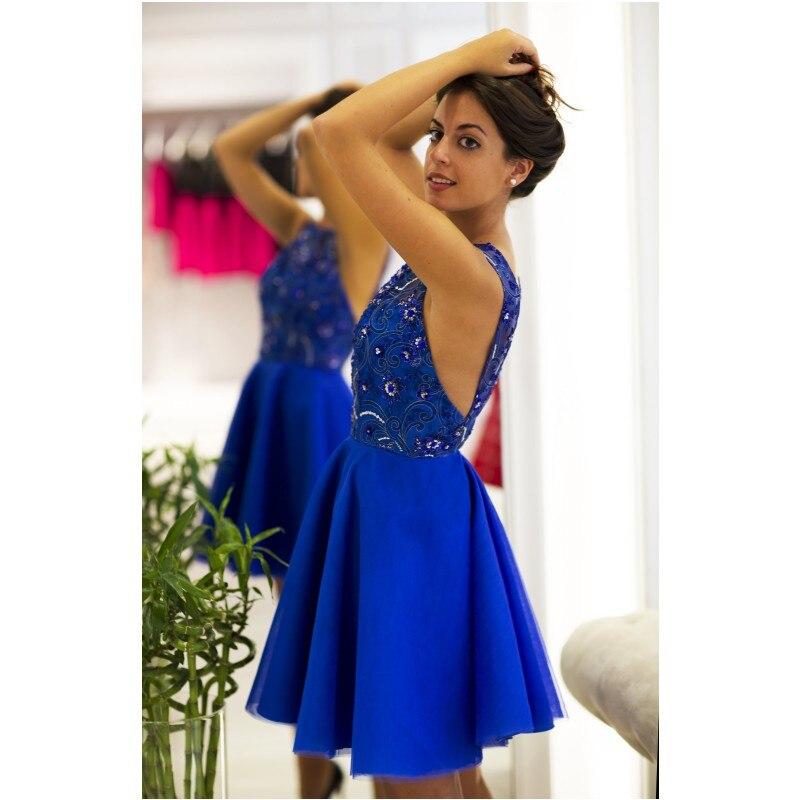 Delicado Azul Real Vestido de Fiesta 2017 Sin Mangas Backless Atractivo  Corto Prom Vestidos Vestidos de