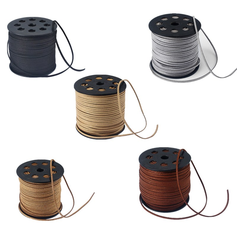 Wholesale 90M Black / Gray / Brown Color Flat Suede Leather Cord For Jewelry Craft Findings 2.5 *1.5mm