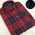 Hot Sale Fasion Men Long Sleeve Super Warm Winter Shirt Mens ThickenShirt Flannel Plaid Velvet Casual Dress Shirt