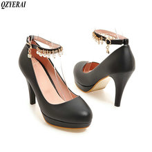 Здесь можно купить   QZYERAI 2018 sexy high heel pearl buckles metal jewelry single shoes wear-resistant rubber soles women