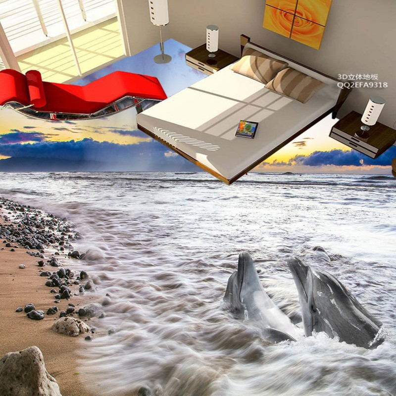 Free Shipping Dolphin sea bathroom 3D floor thickened non-slip shopping mall living room lobby playground bedroom flooring mural free shipping floating suspension mountain dolphin 3d outdoor floor painting wear non slip bedroom bathroom flooring mural