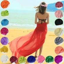 Женский летний шарф, Одноцветный шелковый шарф, пляжный шарф, бикини, накидка, саронги, солнцезащитный шарф, накидка, элегантная шаль размера плюс
