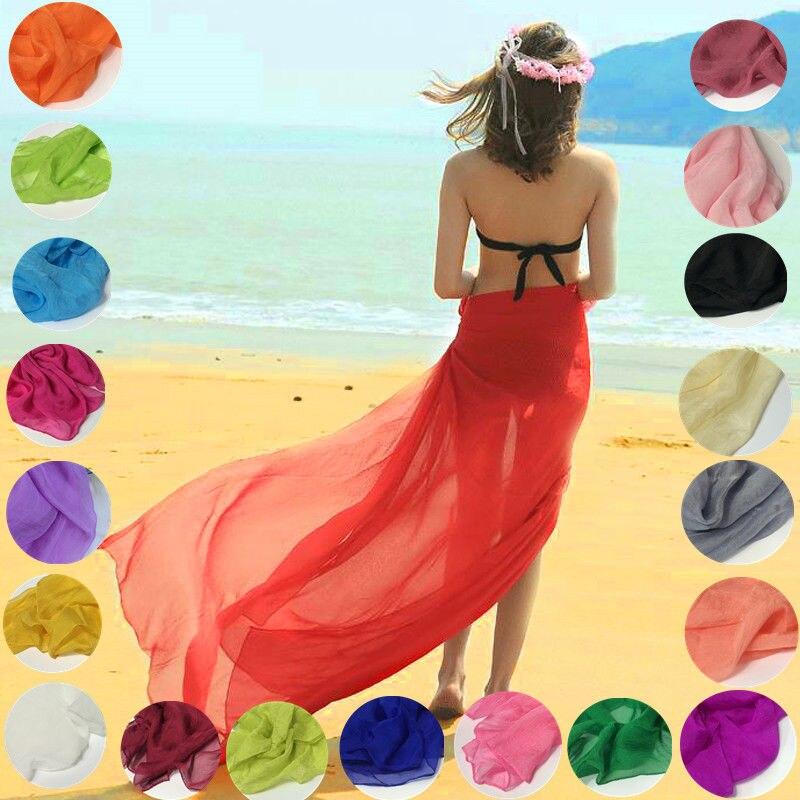 Women Summer Scarf Solid Colour Silky Scarf Beach Scarf Bikini Cover Up Sarongs Sunscreen Scarf Wrap Elegant Shawl Plus Size
