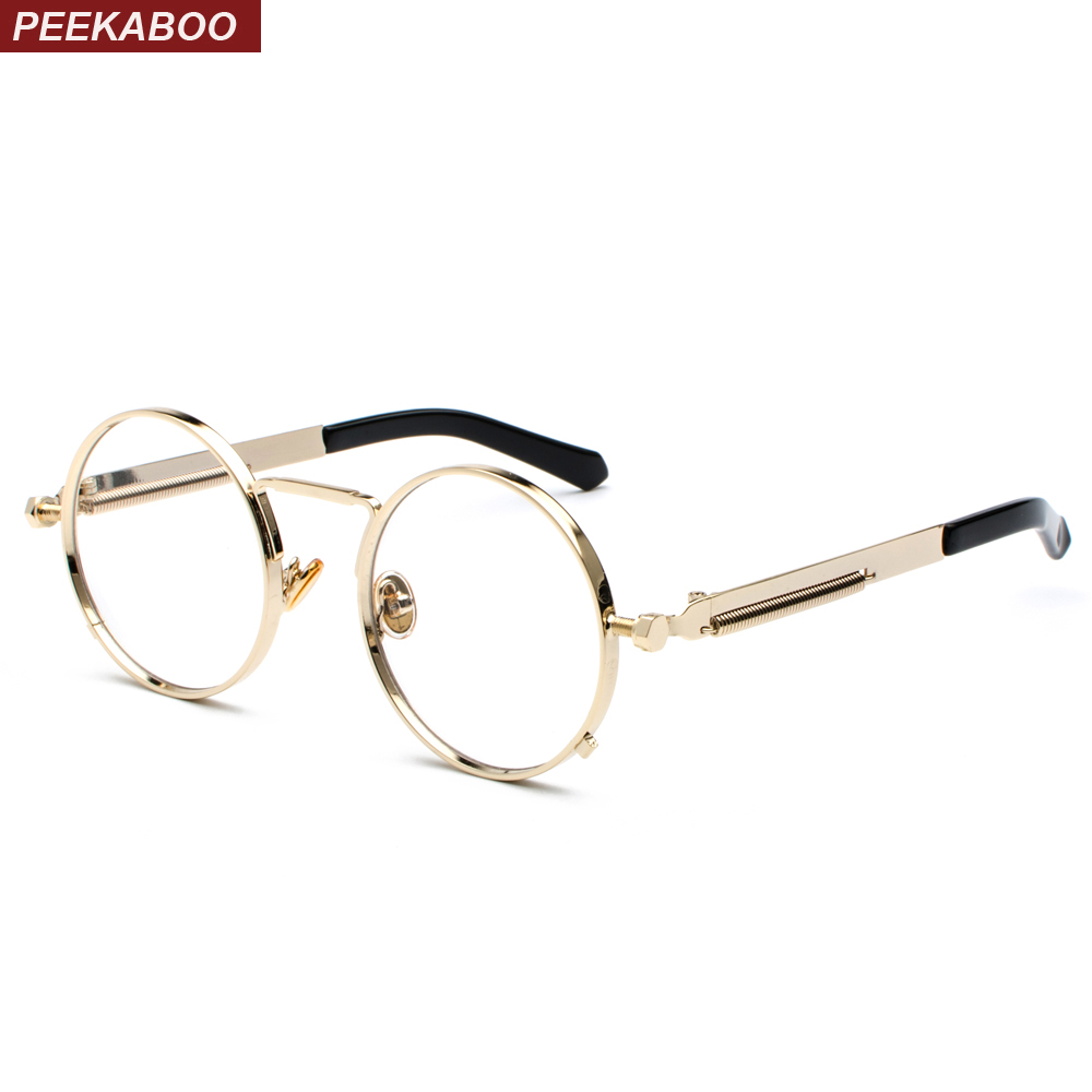 Peekaboo Vintage Steampunk Glasses Round Men Gold Fashion Retro Round Circle Metal Frame Eyeglasses Frame For Women Unisex