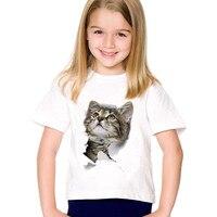 3D Dierlijke Kat Hoofd Kinderen Funny T-shirts Kids Zomer Korte Mouw Tees Jongens/Meisjes Casual Geweldig Tops Baby kleding, HKP2216