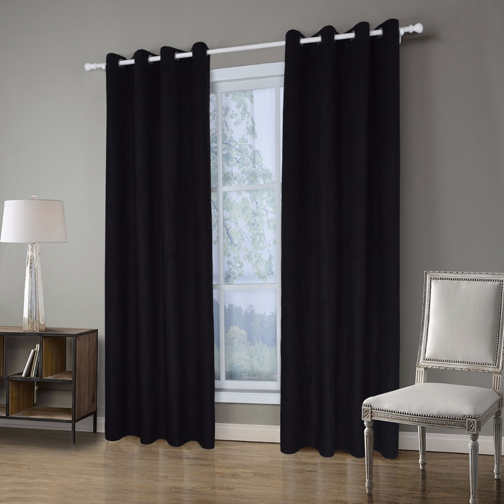 1 Piece Suede Fabric Green Curtains For Living Room Semi Blackout