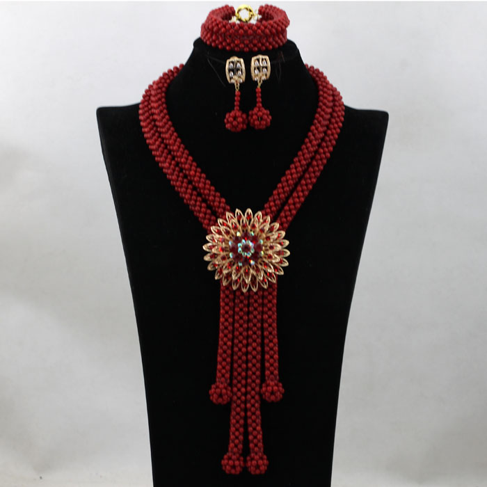 African Red Coral Beads Jewelry Set Handmade Bridal Coral Necklace Set for Nigerian Wedding Free Shipping CNR512African Red Coral Beads Jewelry Set Handmade Bridal Coral Necklace Set for Nigerian Wedding Free Shipping CNR512