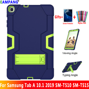 Image 1 - For Samsung Galaxy Tab A 10.1 2019 Case Cover T510 T515 SM T510 SM T515 Shockproof Silicon Stand Coque Funda + Screen Protector