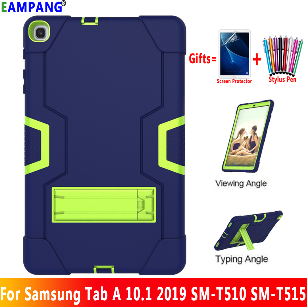 For Samsung Galaxy Tab A 10.1 2019 <font><b>Case</b></font> Cover <font><b>T510</b></font> T515 <font><b>SM</b></font>-<font><b>T510</b></font> <font><b>SM</b></font>-T515 Shockproof Silicon Stand Coque Funda + Screen Protector image