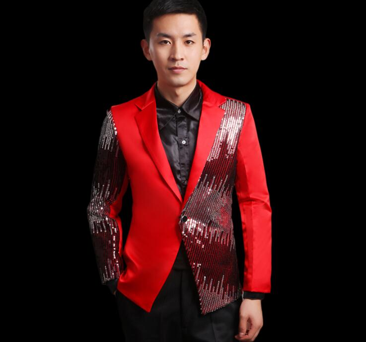Sequins Blazer Men Formal Dress Latest Coat Pant Designs Slim Suit Men Trouser Marriage Wedding Suits For Men's Red Fashion