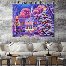 HUACAN Diamond Embroidery DIY LED Light Painting Landscape Mosaic Winter 30x40cm With Frame Christmas Decoration