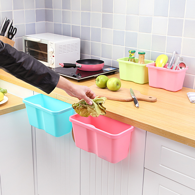 large Backmounted garbage storage Kitchen counter trash can Table top plastic case Containers
