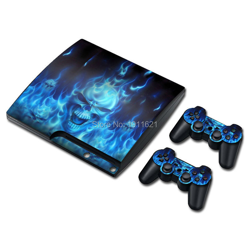 Blue Fire Skull For PS3 Slim Skin 1 Set Skins For Playstation 3 Sticker Decal Cover + 2 Controller Sticker For PS3 Accessories