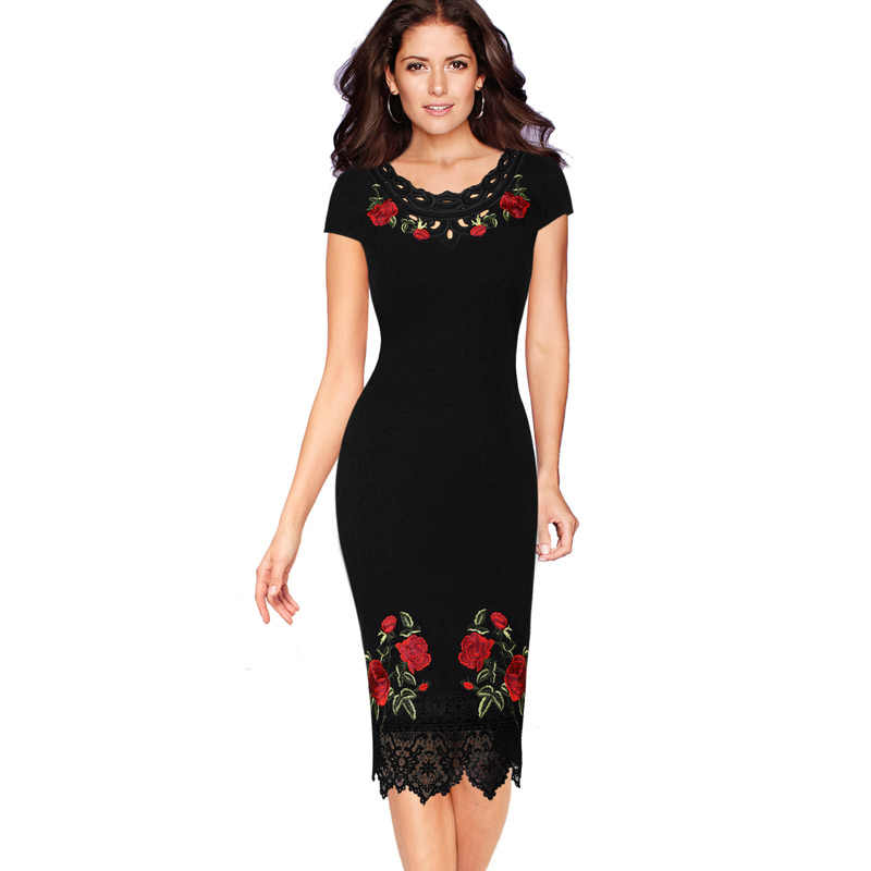 Vfemage Womens Crochet Lace Bloemen Geborduurde Business Cocktail Speciale Gelegenheid Slim Ingericht Bodycon Potlood Jurk 1228