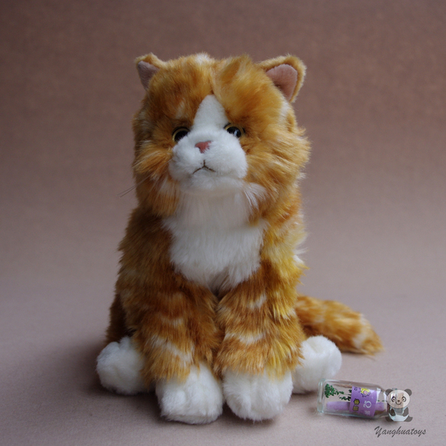 Simulation Yellow Tabby Cat Plush Toy Stuffed Animals Doll Gift Toys