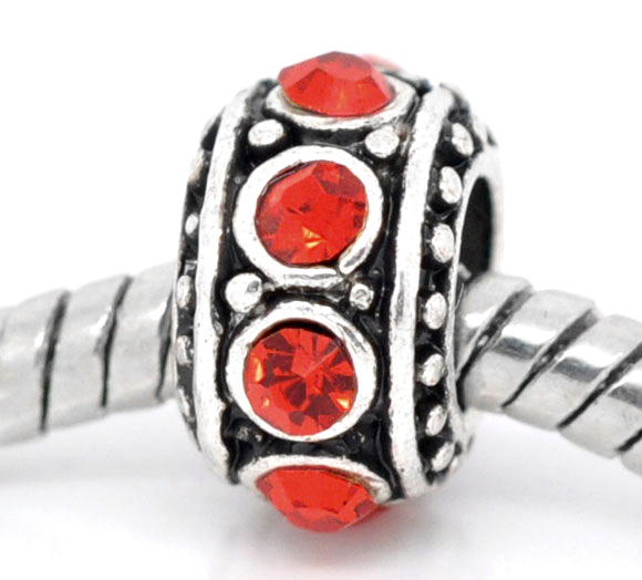 DoreenBeads European Charm Beads Round antique silver Red Rhinestone Dot Rhinestone About 11mm,Hole about 4.7mm,1 Pc new