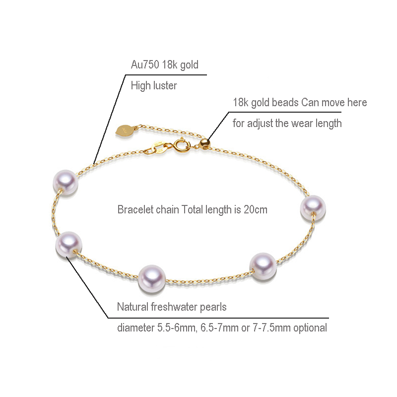 Sinya Au750 gold Bracelet Anklet with natural pearls for women girls Mom 20cm with move gold beads can adjust length (1)