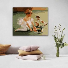 DIY colorings pictures by numbers with colors Ballet little girl puppy picture drawing painting framed Home