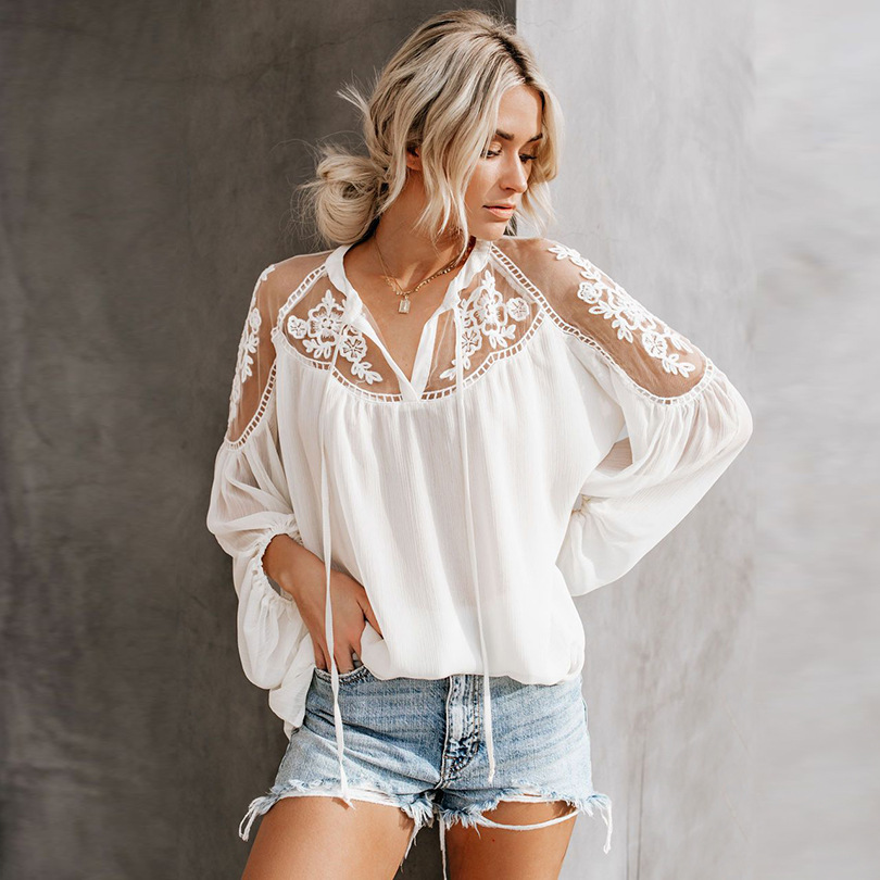 <font><b>Sexy</b></font> Lace See Through <font><b>Blouse</b></font> Women Chiffon Shirts <font><b>2019</b></font> New <font><b>Mesh</b></font> Patchwork O-Neck Ladies Lantern Sleeve Tops Summer Clothes image