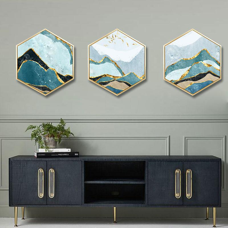 Modern minimalist decorative painting Landscape abstract living room new chinese background wall Triple framed