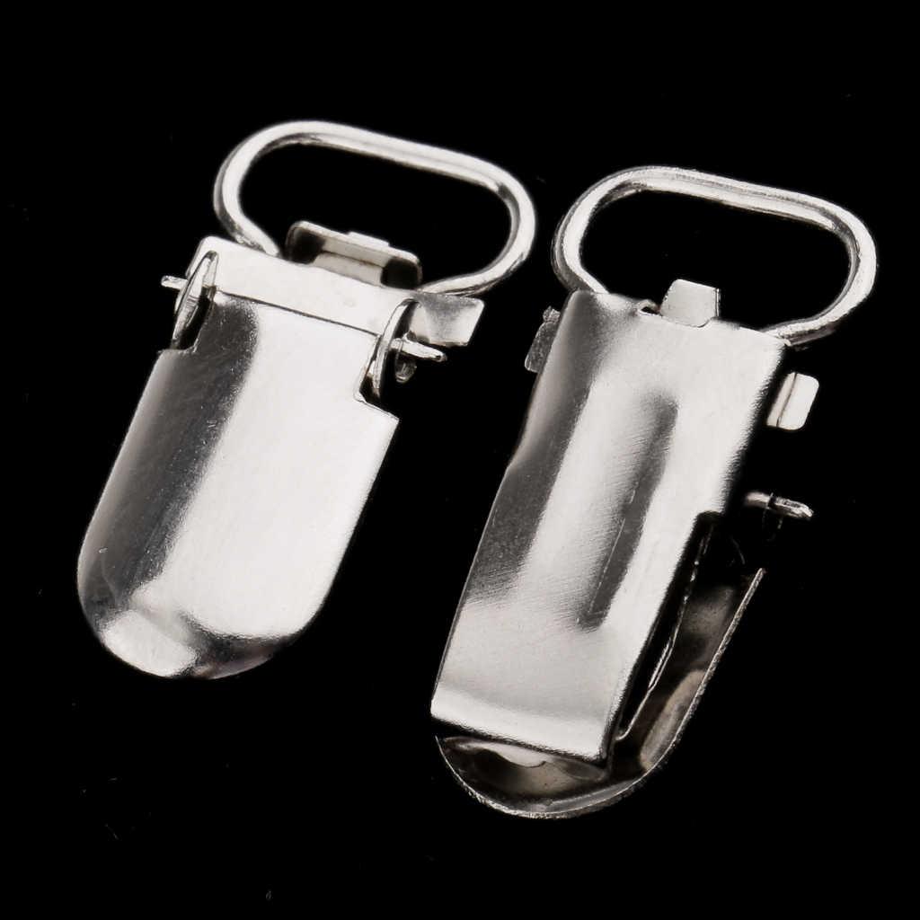 Clip de chupete de Metal 20 piezas para bebé, clip de cierre de tono plateado para hacer chupete, sujetadores de babero, soporte de juguete