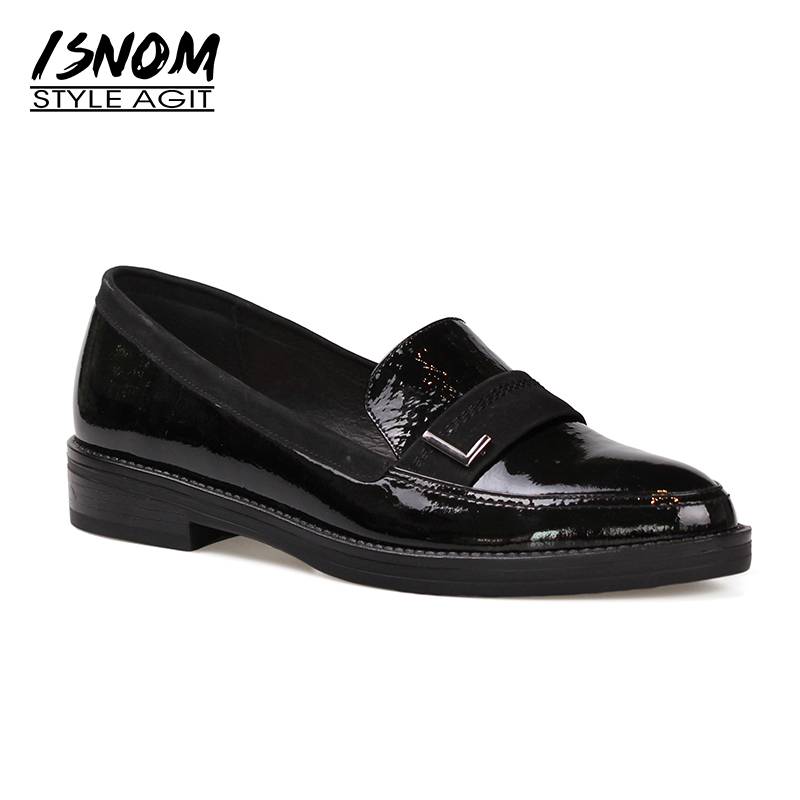 ISNOM Neutral Flats Lady Footwear Female High Quality Genuine Leather Loafers for Women Flats Pigskin Liner Casual Shoes Woman