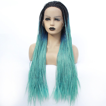 Synthetic Lace Front Braided Wigs for Black Women Natural Hairline Heat Resistant Hair Twist Box Braid Mermaid Wig