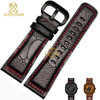 Genuine leather bracelet ostrich leg skin leather watch strap Watchband Red stitching 28mm wristwatches band for Friday