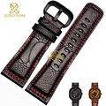 Genuino pulsera de cuero de avestruz la piel de la pierna correa de reloj de cuero correa costuras de color rojo 28 mm pulsera band para viernes