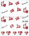 Diseño de la bandera 20 hoja/LOT Dinamarca Copa Mundial de la Bandera ETIQUETA del AGUA DEL ARTE DEL CLAVO Accesorios Fútbol Serie Del Tatuaje Del Clavo, 22 diseño Diferente