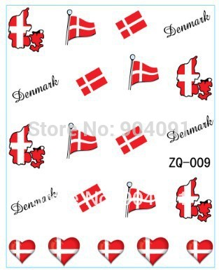 Flag design 20sheet lot denmark flag world cup water decal nail art accessories football serie