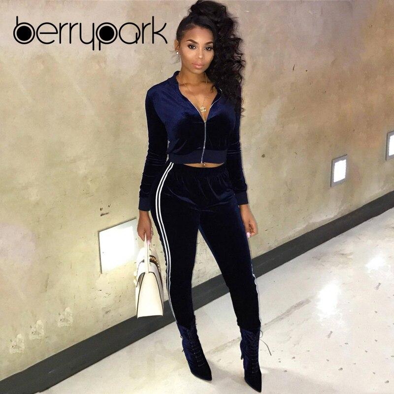 BerryPark Velvet Tracksuit 2019 New Winter Women Velour Jackets and Pants 2 Two Piece Set Jogging Gym Wear Sport Suit Sportswear