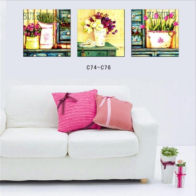 3 Piece Modern Wall Painting for Living room Pot Plant Flower Home ...