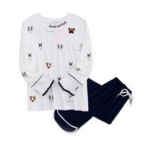 Cute White Dog 100% cotton pajama sets womens lovely cartoon pijamas mujer home sleepwear roupas feminina