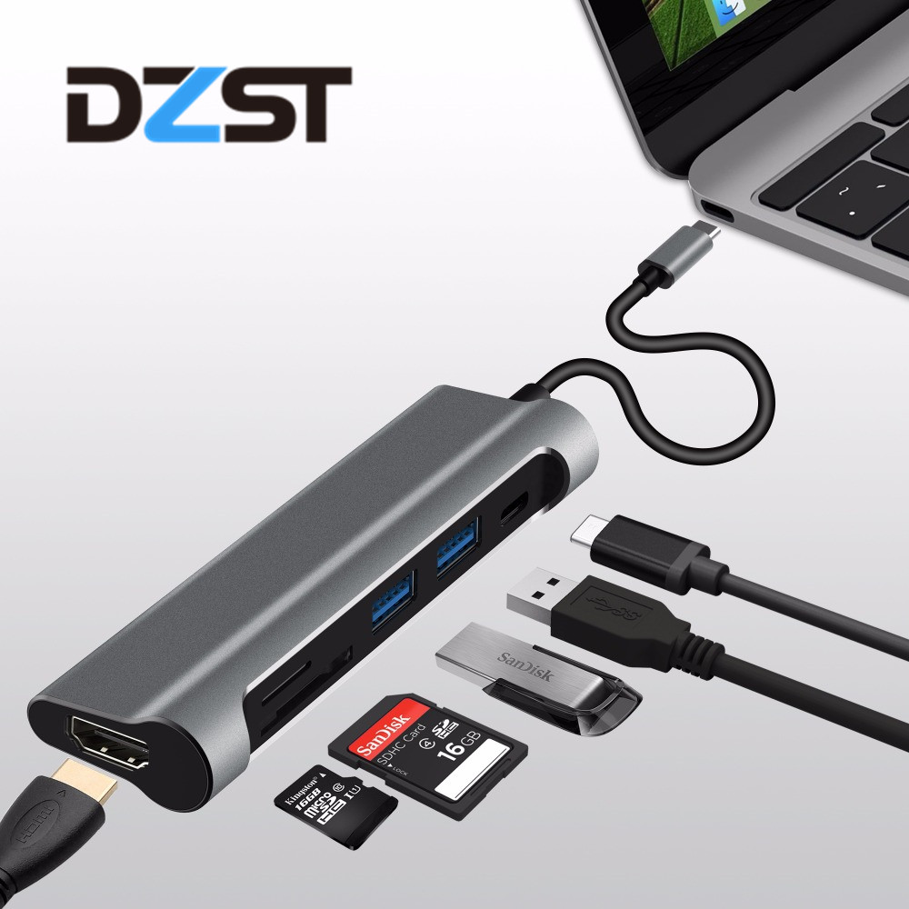DZLST USB Type C 3.1 to USB 3.0/HDMI 4K/SD Card Reader/PD Thunderbolt 3 HUB for MacBook Samsung S9 Huawei Mate 10/P20 Aluminum usb 3 1 type c to hdmi 1080p 4k 5 in 1usb 2 3 0 type c pd lan for s8 s8 s9 s9 note 8 mate 10 mate 10