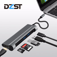DZLST USB Tip C için 3.1 USB 3.0/HDMI/SD TF Kart Okuyucu/PD USB HUB 6 1 USB C Adaptörü 1080 P 60Hz/4 K 30Hz için MacBook alüminyum