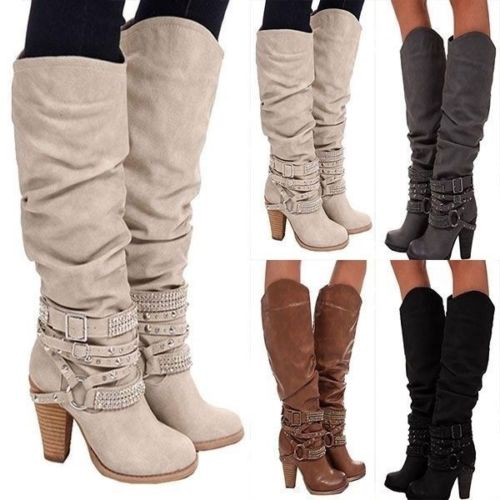 2018 Fashion Style Women Round Toe Block Heel Knee Boots Ankle Strap Decorate Big Size US 4 17 Support Custom Boots