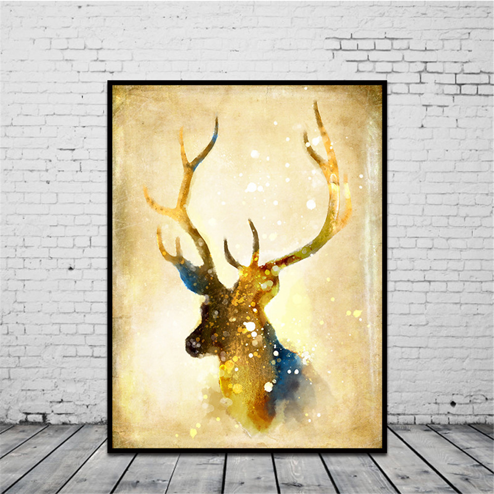 Nordic Elk Unframed Room Decor Modern Abstract On Canvas Huge Wall ...