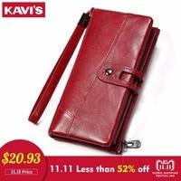 KAVIS Wallet Genuine Leather Women Purse Clutch Coin Purse Long Walet Portomonee Clamp for Money Bag Handy Strap card holder