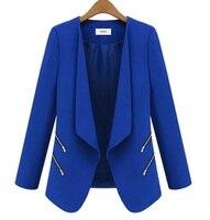 משלוח חינם 2015 חורף אופנה חדשה לנשים גבירותיי שרוול ארוך דש Zip להאריך ימים יותר מעיל חליפת מקטורן הכחול שחור