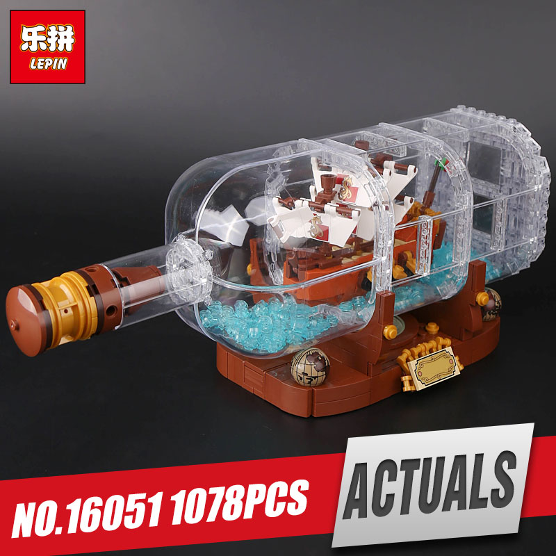 Free Shipping Lepin 16051 Movie Series The legoing 21313 Ship in a Bottle Set Building Blocks Bricks Toys Kid Birthday Gifts 8 in 1 military ship building blocks toys for boys