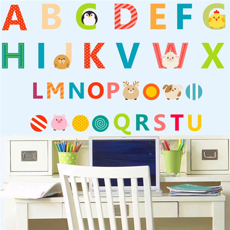 Us 2 72 42 Off Creative 26 English Letters Alphabet Wall Stickers For Kids Rooms Nursery Decor Children Pvc Art Decals Diy Birthday Gift In