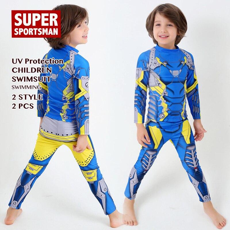 Baby Boys Cartoon Rashguard Kids Surfing Long Sleeve Swimsuit Children Iron Man Anti-UV Swimwear Toddler Swimming Surf Swim Suit