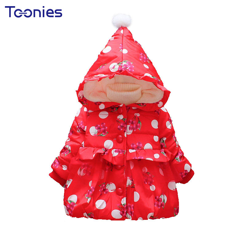 Baby Girls Hooded Jacket Winter Thick Padded Parkas Kids Outwear Clothing Printed Coat Children's Wear Warm Toddler Girl Clothes 2016 winter boys wadded jacket kids hooded spider printed thick fleece red blue coat toddler warm outwear children clothes 2 4t