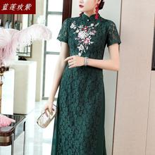 cheongsam female 2019 summer new lace embroidery slim qipao womens retro Chinese wind Elegant temperament long dress female все цены